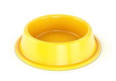 Yellow pet bowl. Yellow Plastic pet bowl for dogs or cats isolated on white background. 3D illustration Stock Photos