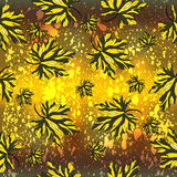 Yellow petals of flowers on a yellow background of beautiful seamless pattern Royalty Free Stock Images