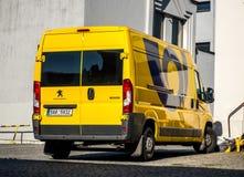 Yellow Peugeot Boxer van of Ceska posta Czech post office. KARVINA, CZECH REPUBLIC - MAY 28, 2017: Yellow Peugeot Boxer van of Ceska posta Czech post office Stock Photo