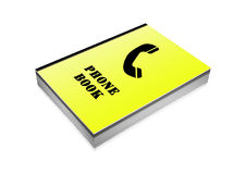 Yellow phone book with black phone on cover Royalty Free Stock Image