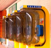 Yellow phone booths Stock Photo