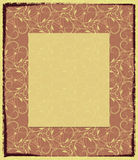 Yellow photo frame with an abstract pattern. The background with the shabby edge, a pattern consists of curls, points and flexible lines. The light field in Royalty Free Stock Photography