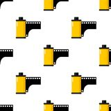 Yellow Photo Roll Film Seamless Pattern. A seamless pattern with a black and yellow photo roll or film flat icon, isolated on white background. Useful also as Royalty Free Stock Images