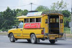 Yellow Pick up truck taxi chiangmai Royalty Free Stock Photography