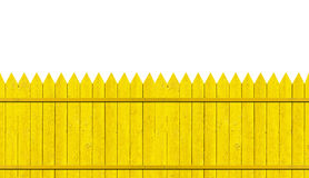 Yellow picket fence. On white Stock Images