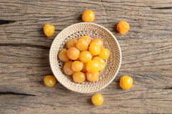 Yellow pickle cherry fruit Stock Photo