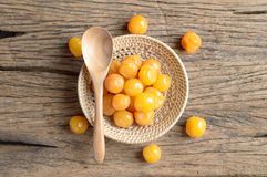 Yellow pickle cherry fruit Royalty Free Stock Image