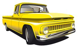 Yellow Pickup. Detailed ial image of Old-fashioned yellow Pickup isolated on white background Royalty Free Stock Photo