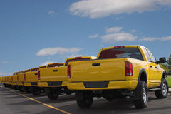 Yellow Pickup Trucks. A long row of nothing but yellow pickups are lined up against a beautiful blue sky stock photos