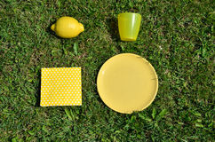 Yellow picnic set Stock Photography