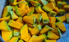 Yellow of pieces of pumpkin. Royalty Free Stock Photography