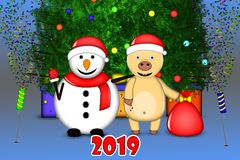 Yellow pig congratulates you on New Year`s holidays royalty free illustration