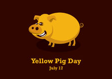 Yellow Pig Day vector Stock Photos