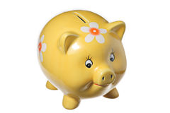 Yellow piggy bank Royalty Free Stock Images
