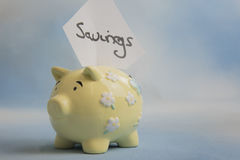 Yellow piggy bank money box with the word savings Stock Photos