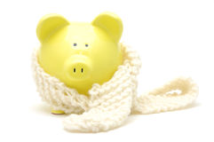 Yellow piggy bank with neckerchief Royalty Free Stock Photo