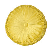Yellow pillow. Isolated on white stock photography