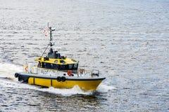 Yellow Pilot Boat Cutting Through Bay Royalty Free Stock Photos