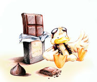Yellow pilot duck with chocolate cartoon Royalty Free Stock Photo