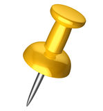 Yellow pushpin Royalty Free Stock Photos