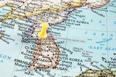 Yellow pin on Seoul map Stock Photo
