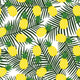 Yellow pineapple with triangles geometric fruit summer tropical. Exotic hawaii pattern on a green palm leaves background seamless vector stock illustration
