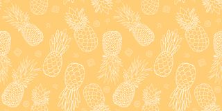 Yellow pineapples seamless repeat pattern design. Royalty Free Stock Image