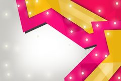 Yellow and pink arrow overlap right side, abstract background Royalty Free Stock Photography
