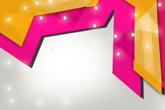 Yellow and pink arrow overlap top side, abstract background Stock Photography