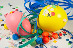 Yellow and pink balloon. Balloons and Streamers and confetti to party on carnival Royalty Free Stock Photography