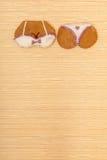 Yellow pink bikini shape gingerbread cake cookie on bamboo mat Royalty Free Stock Photos
