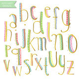 Yellow pink blue green gold colorful ink alphabet letters. Stock Image