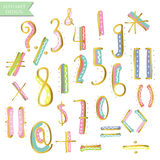 Yellow pink blue green gold colorful ink alphabet letters Stock Image