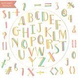 Yellow pink blue green gold colorful ink alphabet letters Royalty Free Stock Photo
