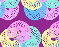 Yellow pink blue green rings on lilac background royalty free illustration