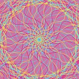 Yellow pink and blue hand drawn pencil lines on a pastel pink background, kaleidoscope style illustration. Yellow pink blue hand drawn pencil lines pastel stock photo