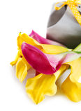 Yellow and pink cala lilies with present Stock Photos