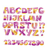Yellow and pink fairy tale childish style letter set Stock Photos