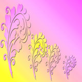 A yellow and pink floral background. A yellow and pink floral abstract background Royalty Free Stock Photography