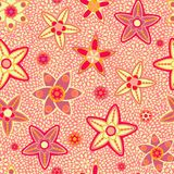 Yellow and Pink Flower Seamless Pattern Royalty Free Stock Image