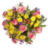 Yellow and pink flowers bouquet isolated on white Stock Photography
