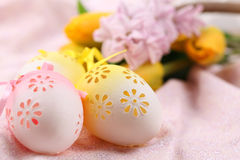 Yellow and pink flowery Easter eggs Stock Photography