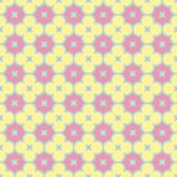 Yellow, pink and green flower quatrefoil seamless vector pattern stock illustration