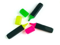 Yellow, pink and green markers Stock Photo