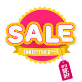 Yellow and pink label Sale. Vector illustration Royalty Free Stock Images