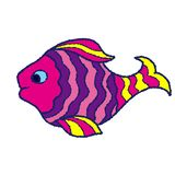 Yellow pink lilac fish on a white background royalty free stock image