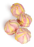 Yellow and pink marshmallow in the row Royalty Free Stock Images