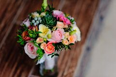 Yellow Pink and Orange Flower Bouquet Royalty Free Stock Image