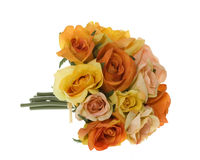 Yellow, Pink and Orange Rose Bouquet of Flowers Royalty Free Stock Image