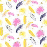 Yellow and pink palm leaves seamless vector pattern. Stock Photos